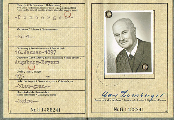 Carl Domberger historischer Ausweis